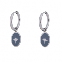 Oorbellen hanger north star grijs zilver – Go Dutch Label