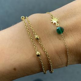 Armband goud met groene steen en gouden ster- Go Dutch Label