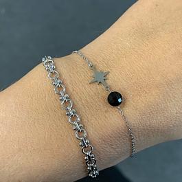 Armband zilver met zwarte steen en zilveren ster- Go Dutch Label