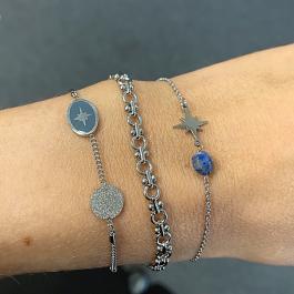 Armband zilver met blauwe steen en zilveren ster- Go Dutch Label