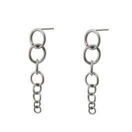 Oorbellen hanger ringen zilver – Go Dutch Label