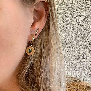 gouden oorbellen met groen steentje Go Dutch Label