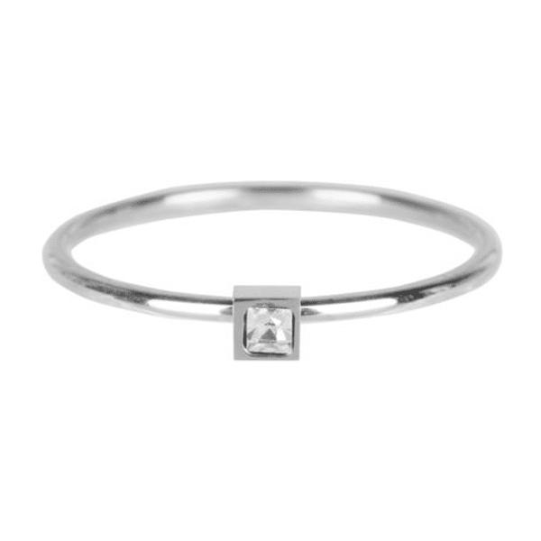 zilveren vierkant zirkonia ring Charmin's