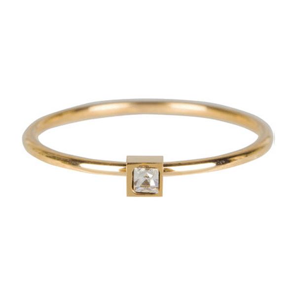 gouden vierkant zirkonia ring Charmin's