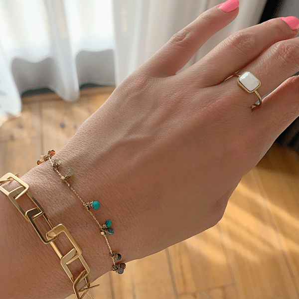 Made by Mila | Verstelbare ring goud met witte steen- ZAG Bijoux 2