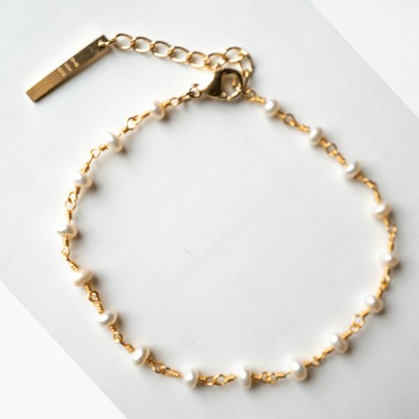 gouden parel armband zag bijoux