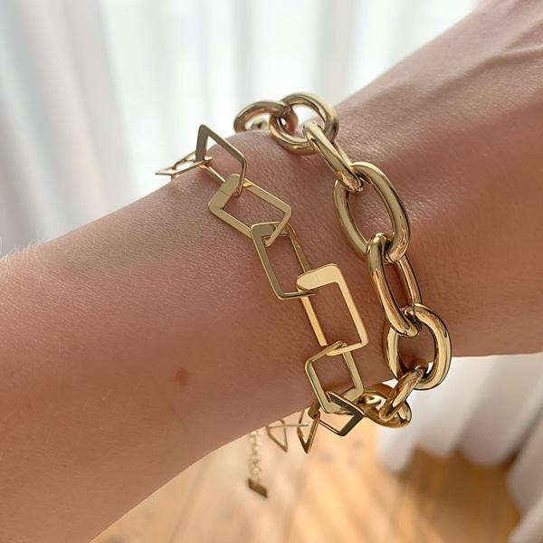 Made by Mila | Armband grove schakel vierkant goud - ZAG Bijoux 3