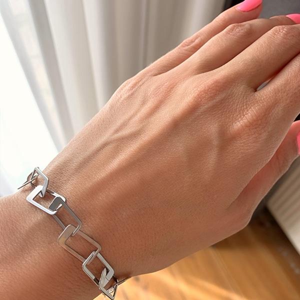 Made by Mila | Armband grove schakel vierkant zilver - ZAG Bijoux 2