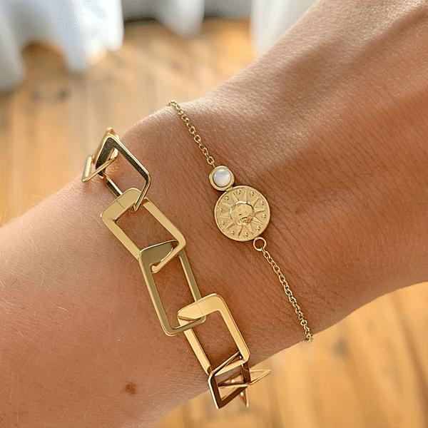 Made by Mila | Armband grove schakel vierkant goud - ZAG Bijoux 2