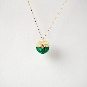 gouden ketting met groene steen zag bijoux