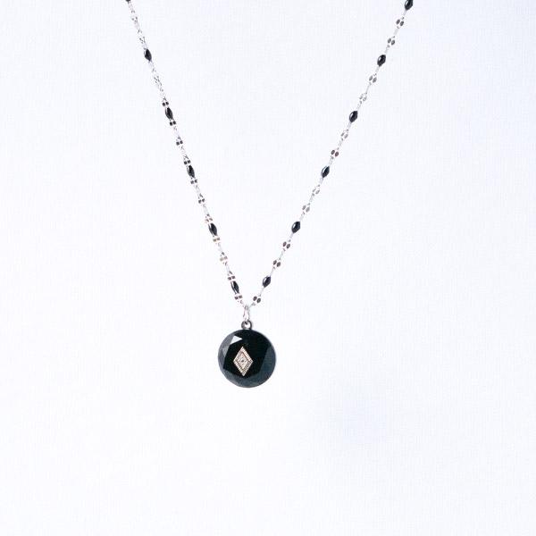 ketting zilver met zwarte steentjes zag bijoux