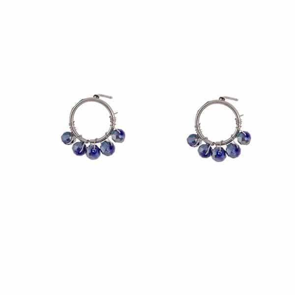 zilveren oorbellen met blauwe steentjes Go Dutch Label