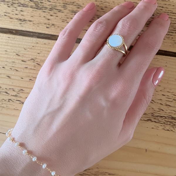 ring en armband wit en goud zag bijoux