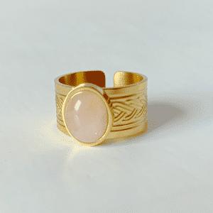 gouden ring met rose steen zag bijoux