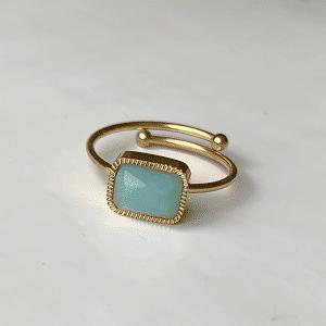 ring verstelbaar met blauwe steen zag bijoux