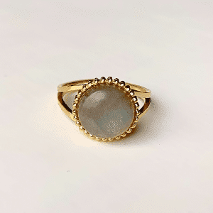 gouden ring met blauwe steen zag bijoux verstelbaar