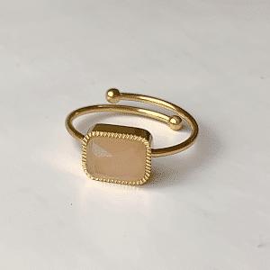 gouden ring met roze steen verstelbaar zag bijoux