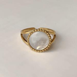 gouden ring met wite steen verstelbaar zag bijoux