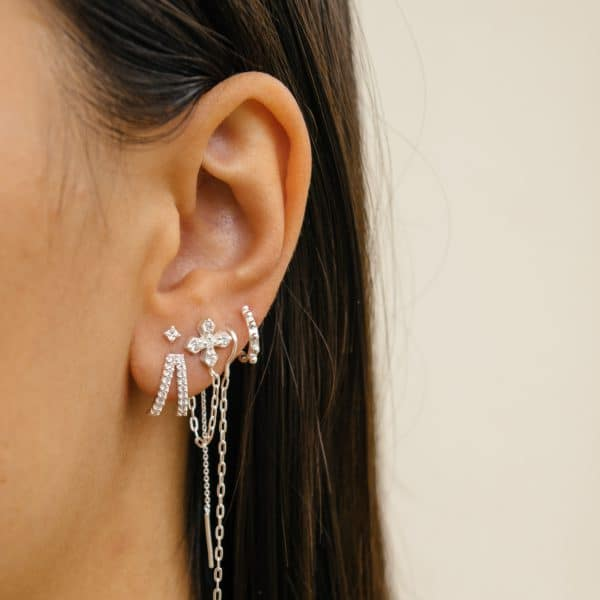 Made by Mila   Double zirconia huggie earrings sterling silver- Eline Rosina oorbellen 2
