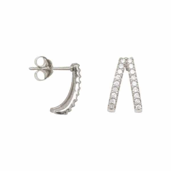 Made by Mila   Double zirconia huggie earrings sterling silver- Eline Rosina oorbellen 1