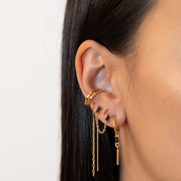 Made by Mila | Single baguettes chain earring goud - Eline Rosina Oorbellen 2