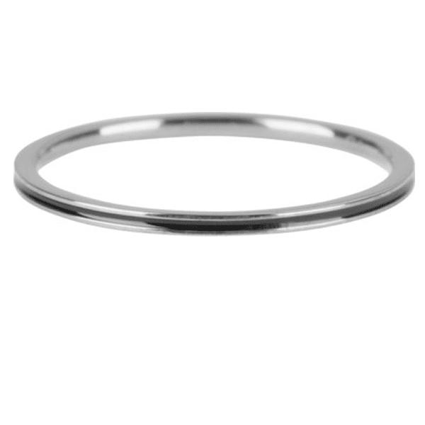 zilveren ring nmet zwarte streep