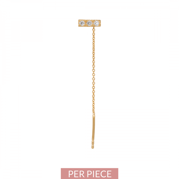 Made by Mila | Single zirconia bar threader goud - Eline Rosina oorbellen 1