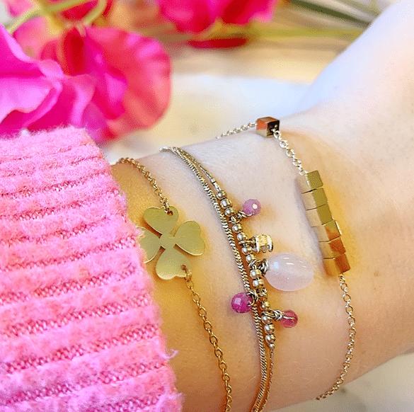 Made by Mila | Dubbele armband goud paars en rose quartz - ZAG Bijoux 1