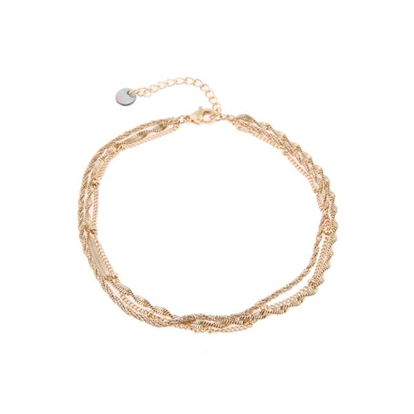 gouden enkelband driedelig