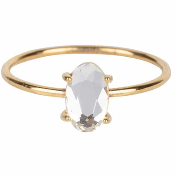 Made by Mila | Ring goud ' Shine Big Gold Steel Crystal' - Charmin's 1