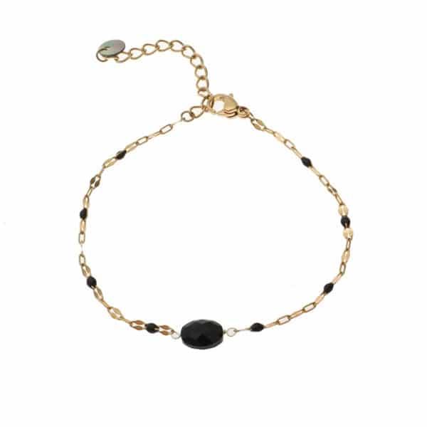 Made by Mila | Armband met zwarte steen en goud- Go Dutch Label 1
