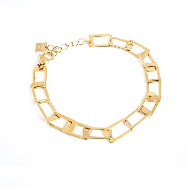 Made by Mila | Armband grove schakel vierkant goud - ZAG Bijoux 1