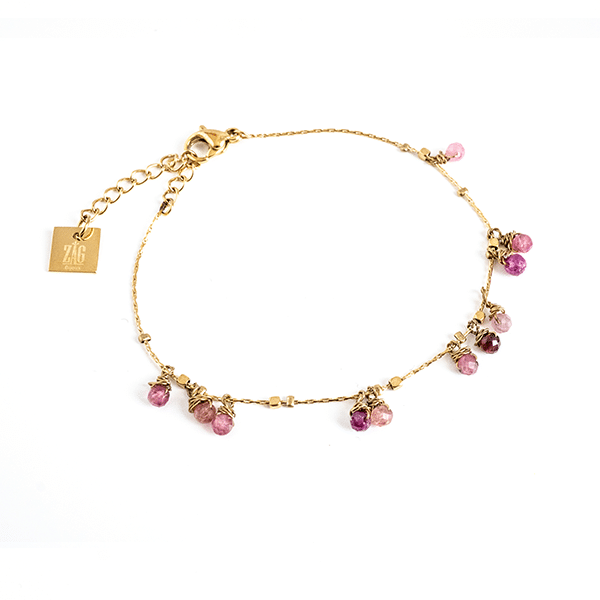 Made by Mila | Armband goud met rose steentjes - ZAG Bijoux 1