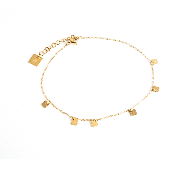 Made by Mila | Enkelbandje dichte klaver goud - ZAG Bijoux 1