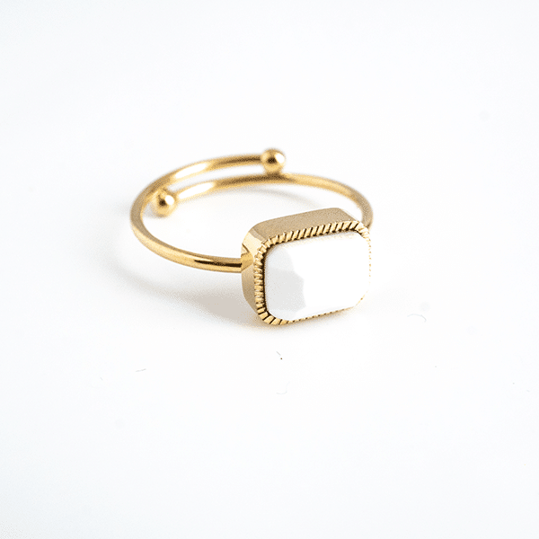 Made by Mila | Verstelbare ring goud met witte steen- ZAG Bijoux 1