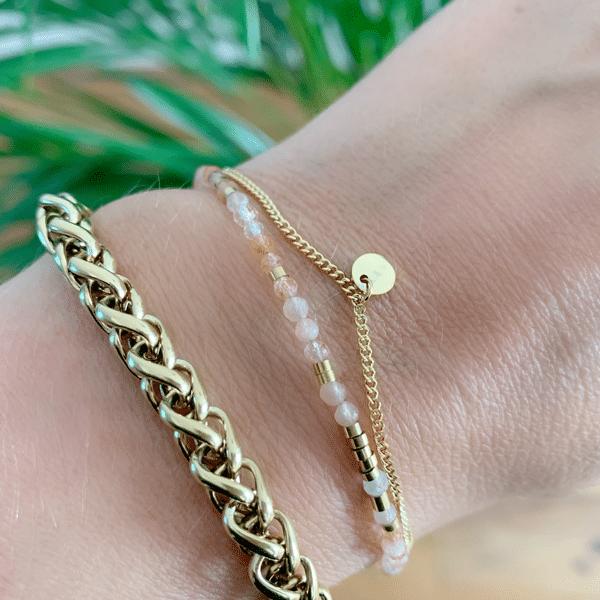 Made by Mila | Armband dubbel goud en roze - ZAG Bijoux 2