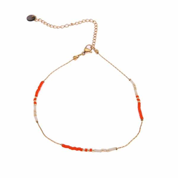 Made by Mila | Enkelbandje goud met orange & cream beads – Go Dutch Label 1