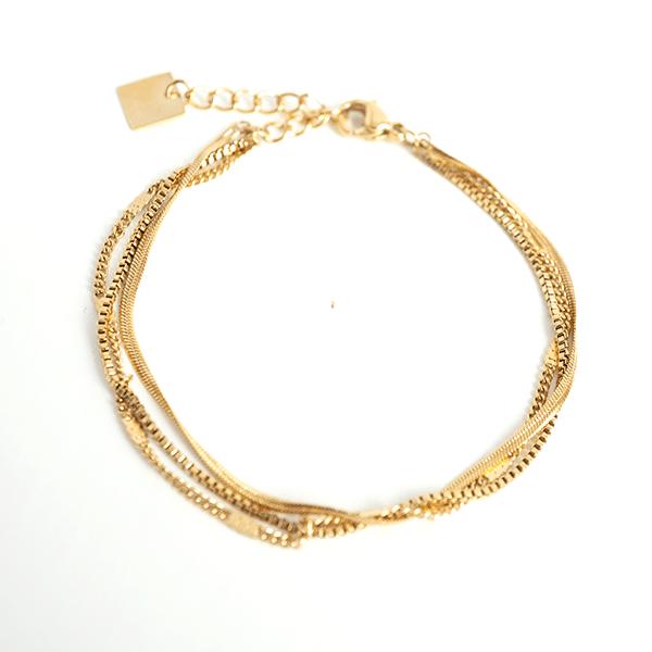 Made by Mila | Armband goud drie kettinkjes - ZAG Bijoux 1