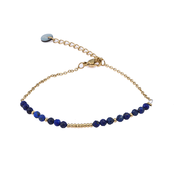 Made by Mila | Armband stones goud blauw- Go Dutch label 1