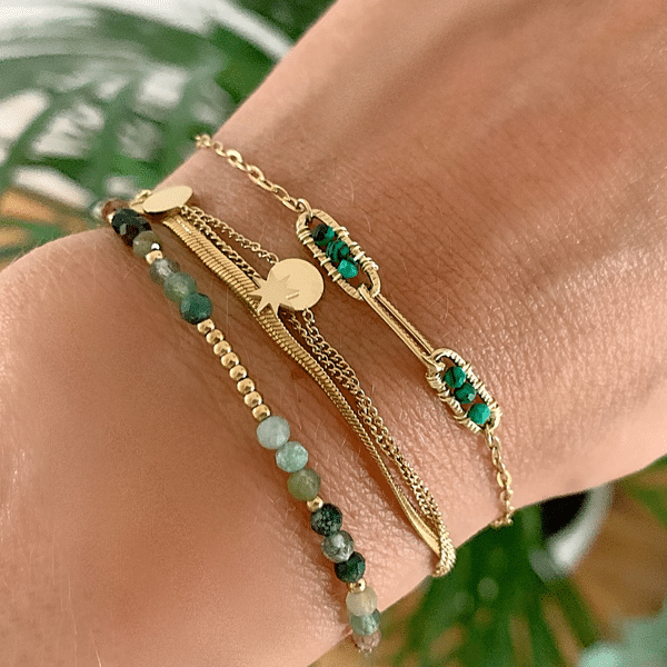 Made by Mila | Armband stones goud groen- Go Dutch label 2