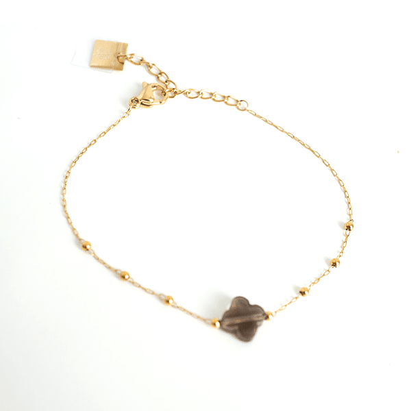 Made by Mila | Armband klaver bruin - ZAG Bijoux 1