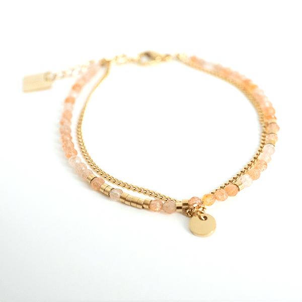 Made by Mila | Armband dubbel goud en roze - ZAG Bijoux 1
