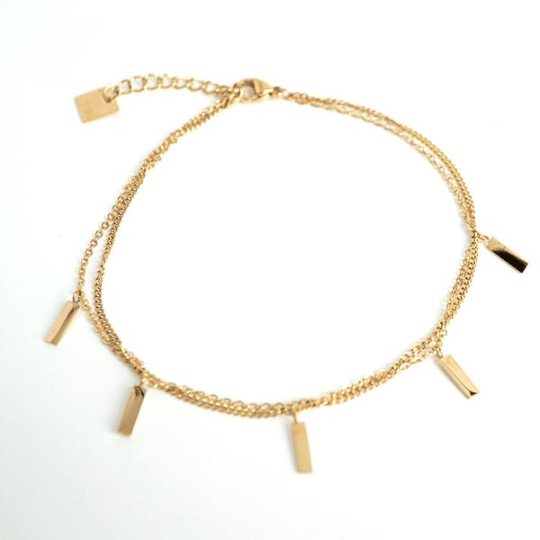 Made by Mila | Enkelbandje dubbel staafjes goud- ZAG Bijoux 1