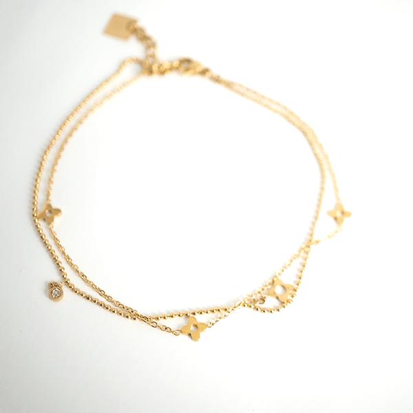 Made by Mila | Enkelbandje dubbel klaver goud- ZAG Bijoux 1