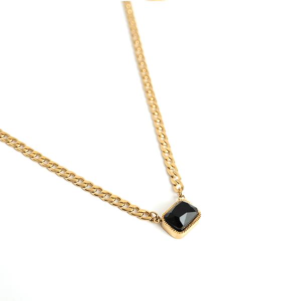 Made by Mila | Ketting onyx schakel - ZAG Bijoux 1