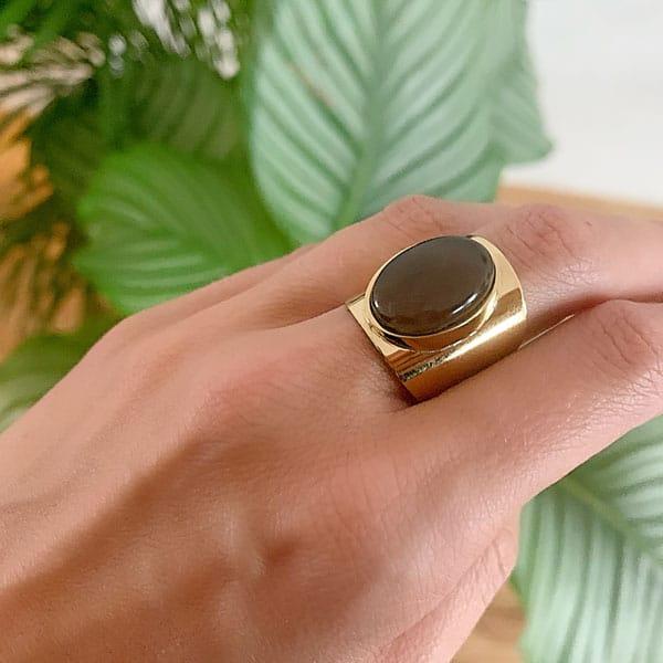 Made by Mila   Verstelbare gouden ring bruin- ZAG Bijoux 2