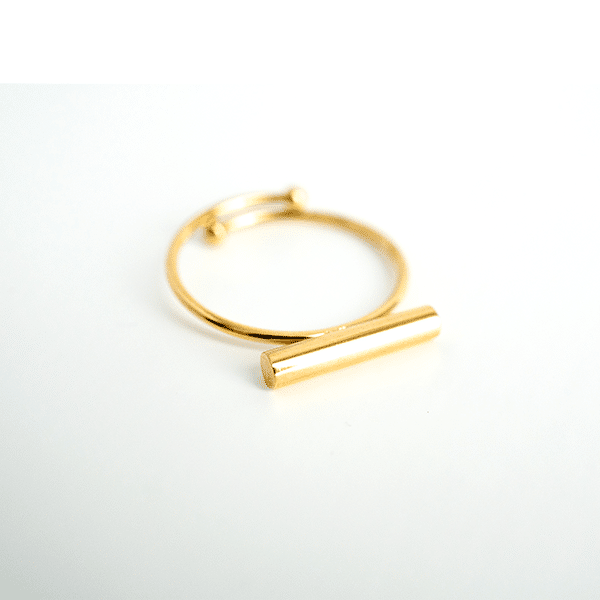 Made by Mila | Verstelbare gouden ring staafje- ZAG Bijoux 1