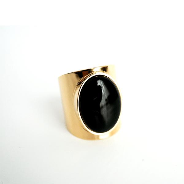 Made by Mila | Verstelbare gouden Onyx ring- ZAG Bijoux 1