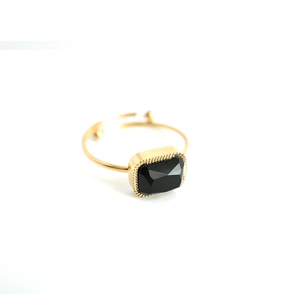 Made by Mila | Verstelbare ring goud met onyx steen- ZAG Bijoux 1