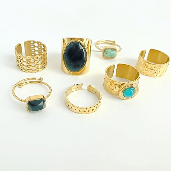 Made by Mila | Verstelbare ring goud met onyx steen- ZAG Bijoux 3